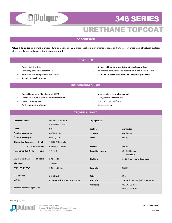 Polyur Urethane Topcoat – 346 Series